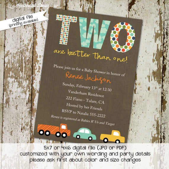 baby shower invitations for twins with cars, digital, printable file (item 154) baby shower invite