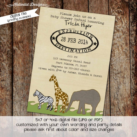 safari baby shower invitation boy gender neutral gender reveal sprinkle diaper couples coed elephant (item 1231) shabby chic invitations
