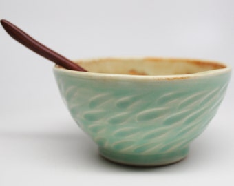 Wheel Thrown Porcelain Dip or Condiment Serving Bowl with Wood Spoon