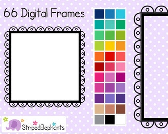 Cutout Scalloped Square Digital Frames 3 - Clipart Frames - Instant Download - Commercial Use