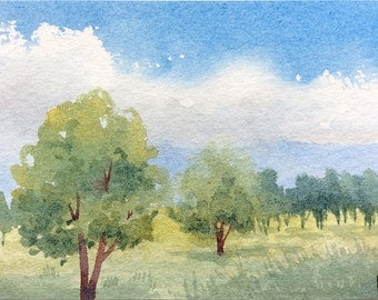 Original Watercolor Painting ACEO - One, two, many trees