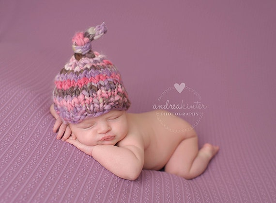 Newborn Hat PATTERN Abeline Tie Top Baby Hat Handspun Thick