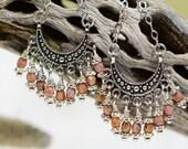 Hoop Earrings Gypsy Earrings Silver Wire wrapped Long Chandelier Boho Tibetan Style
