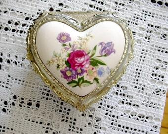 Vintage Occupied Japan Ornate Heart Shape Metal Trinket Jewelry Box Footed Hinged Lid Crisp Detail Rococo Style Hollywood Regency