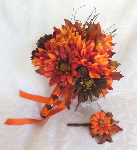 Fall Colors Bridal Bouquet Silk Flower Wedding Bouquet Shades Of Red
