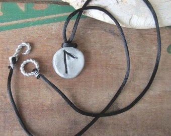 rune pendant LAGUZ viking runes necklace elder futhark jewelry clay wiccan jewelry wicca pagan amulet witchcraft occult