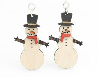 Snow man Earrings - Wooden Laser Cut