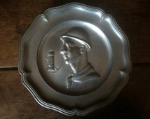 Vintage French miner pewter display fireplace plate circa 1960's / English Shop