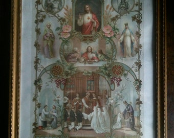 Antique French Framed Religious Catholic Communion Baptism Certificate Dated 1919 / English Shop