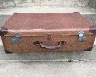 Vintage French tobacco brown travel hard case suitcase bag circa 1940's / English Shop