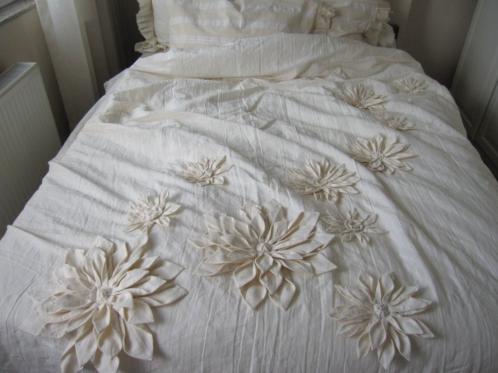 dahlia flower applique bohemian bedding shabby chic duvet. Black Bedroom Furniture Sets. Home Design Ideas