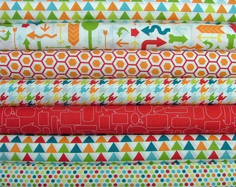 Mixed Bag Multi Colored Fat Quarter Bundle of 7 by Studio M for Moda