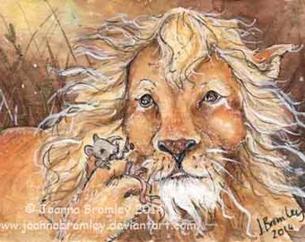 """ACEO """"The Lion & the Mouse""""-Original whimiscal Aesops Fable childrens watercolour story illustratiopainting"""