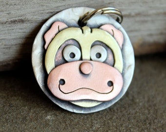 Dog Tag - Dog ID Tag - Pet Tag - Custom dog tag- Pug dog tag or key chain