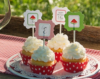 Watermelon Picnic Collection: Printable Cupcake Toppers