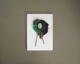 brown and green textile collage brooch rosette - corsage brooch - birds woodland corsage- whimsical eye catcher