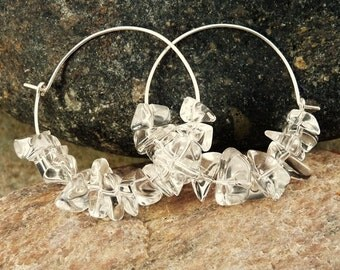 Medium Sterling Silver Hoop Earrings with Crystal Quartz Chip Beads. Modern, Eco Friendly