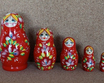 Red Matryoshka Nesting  dolls with flowers  set of 5 Sale