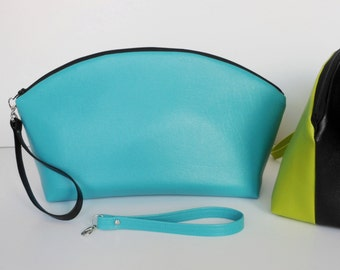 STANDUP CLUTCH 2 Color Turquoise and Black Curve Top Clutch with Optional Wrist Strap - One side Turquoise and Reverse side Black