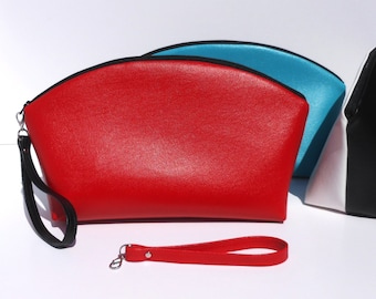 STANDUP CLUTCH 2 Color Red and Black Curve Top Clutch with Optional Wrist Strap - One side Red and Reverse side Black