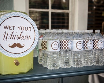 DIY Printable, Little Man - Wet your whiskers -  party signs