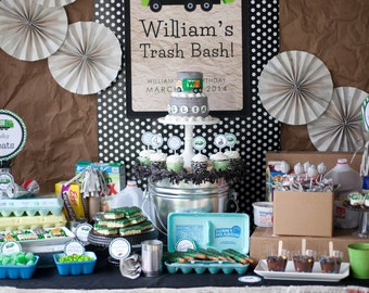 Garbage Birthday Invitation, Garbage Truck Party, Garbage Birthday, Garbage Printables, Garbage Birthday Decorations, Lauren Haddox Designs
