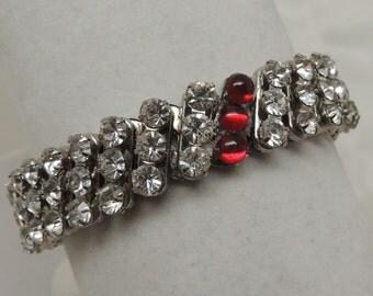 Vintage 1950s Rhinestone Stretch Bracelet