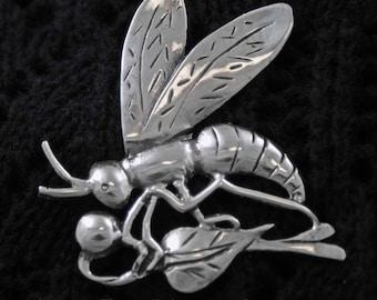 Vintage Sterling Silver Dragonfly Pin, Brooch, Lapel Pin, Shawl Pin, Dress Pin, Coat pin