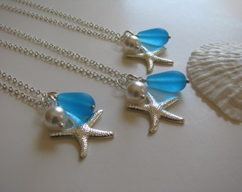 Bridesmaid Jewelry Aqua Turquoise Blue Necklace with Pearl & Crystal or Starfish or Anchor Charm for Beach Wedding