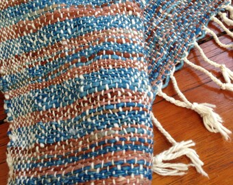 Handwoven cotton shawl scarf in multishade of indigo and brown colors