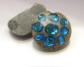 Lentil bead lampwork glass focal bicolor aqua bleu green Sea Rocks Anne Londez SRA OOAK