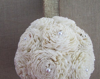 SOLA chorki flower kissing ball with Burlap and pearls