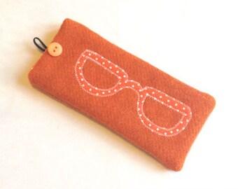 Orange Harris Tweed glasses case, specs, sunglasses, sunnies, appliqued spectacles case, orange polka dot specs