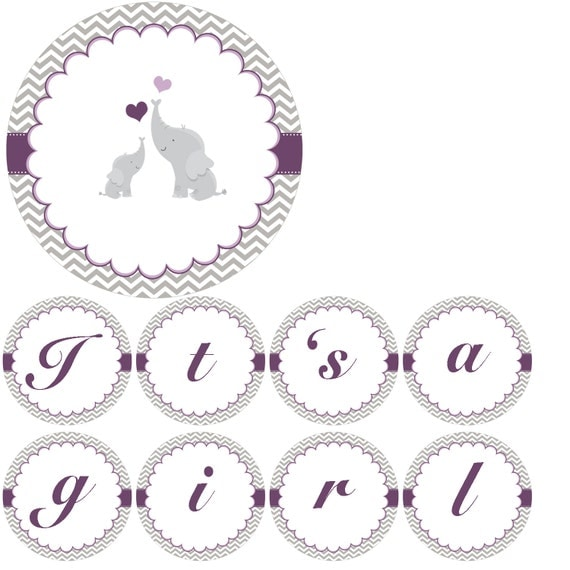baby shower banner its a girl grey purple chevron elephant printable