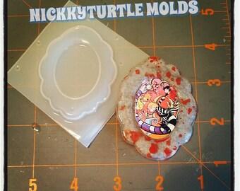 Scalloped edge cameo setting frame  30 mm Flexible Plastic Resin Mold