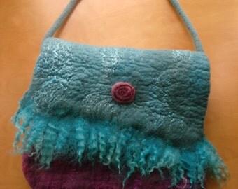 felted handbag,shoulder bag Turquoise bag,pink & turquoise bag,wet felted bag,OOAK bag