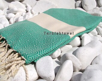 Turkishtowel-2014 Spring Collection-Hand woven,20/2 cotton warp and weft,Diamond Turkish Bath,Beach Towel-Green,natural cream
