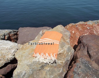 Turkishtowel-Hand woven,20/2 cotton warp and weft ,Herrigbone Turkish Bath,Beach Towel-Orange and cream stripes