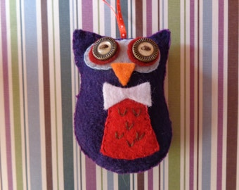 Indigo Meadow Owl Ornament by Pepperland