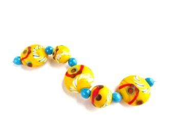 Colorful Matte Lampwork Beads / Yellow