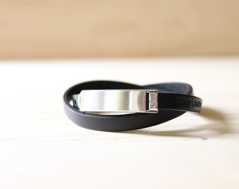 Brushed Silver Plated Closure Double Wrap Leather Bracelet(Black)