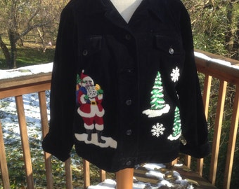 Christmas Jacket, Ugly Christmas Sweater Party Wear, Santa Jacket, Teacher holiday top, Winter Xmas outerwear.