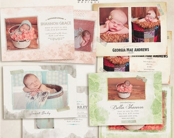Fancy Kraft Flat Birth Announcement CARD templates for photographers