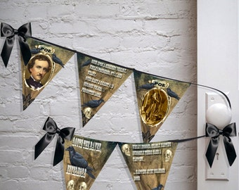 Printable Halloween banner Gothic Macabre Steampunk Edgar Allen Poe the Raven room banner printable  flags instant download