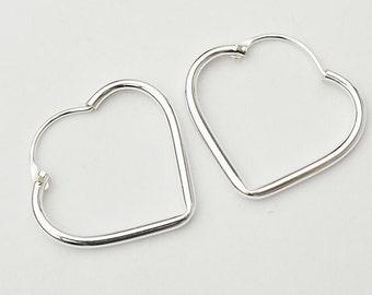 1 pair of 925 Sterling Silver Heart  Hoop Earrings 19x22mm. :er0532