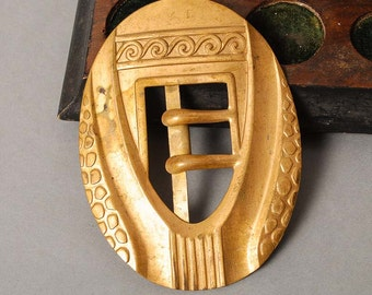 Antique huge brass belt buckle, beginning of 20 th century