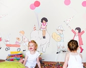 Sarah Jane On Parade LARGE Eco-Friendly Reusable Fabric Wall Decals by Pop & Lolli