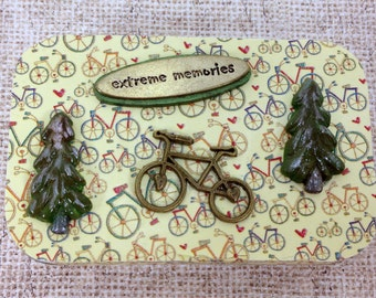 Bicycle Adventures, Extreme Memories, Altered Altoid Tin, Gift Card Holder, Magnetic Jewelry, Business Cards, Pill Box, Keepsakes