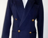 Saks Fifth Avenue Petite Double Breast Blazer Navy - Cashmere - Mint Condition