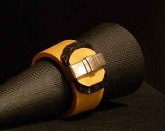 TUDOR Bracelet Gold Black Leather Architectural Series